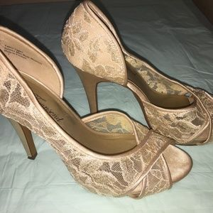 "LuLu-Townsend 3"" heels-color-champagne-Lace, Sz 7"